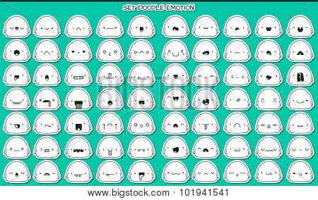 Set of 70 stickers cute sketch characters with doodle emotions