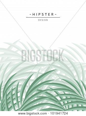 Exotic background with green palm leave for design. Hipster