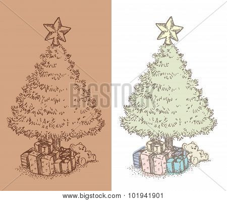 Hand drawn vintage Christmas tree drawing