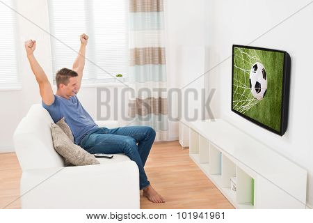 Woman Watching Soccer Game On Television