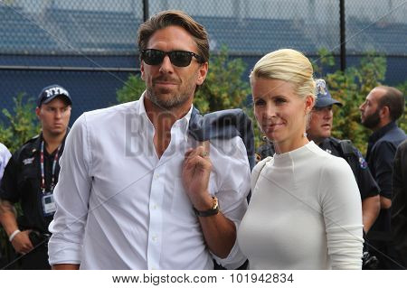 New York Rangers goalie Henrik  Lundqvist with his wife arrived for mens final match at US OPEN 2015