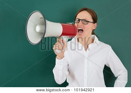 Businesswoman Shouting Though Megaphone
