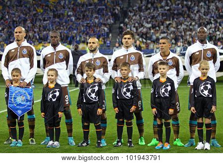 Fc Porto Players Listen Uefa Champions League Anthem
