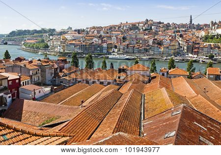 Aerial View Of Orange Tile Rooftops In Porto, Portugal