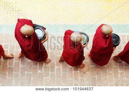Monks In Mahagandayone Monastery