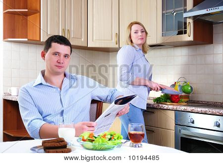 Wife And Husband Have Breakfast