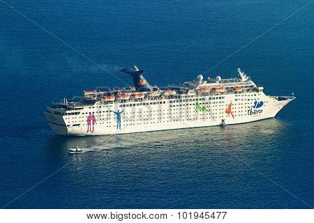 Cruise Ship Near Santorini