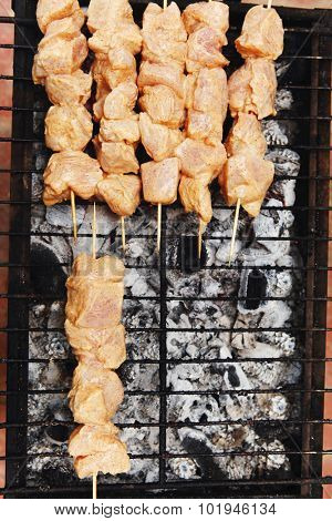 fresh raw chicken turkey shish kebab on skewers on grid over charcoal spread with sauce and coated with red hot chili pepper