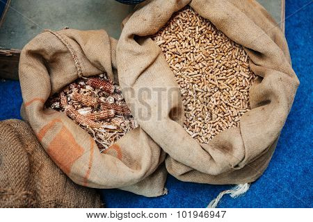 Pellets Made From Energy Crops In Organic Bags