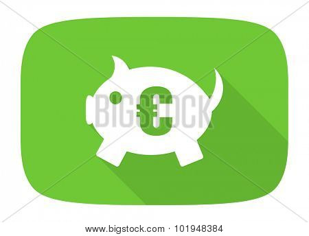 piggy bank flat design modern icon with long shadow for web and mobile app