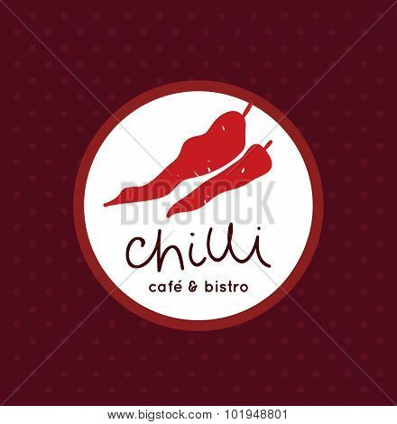 Vector chilli peppers logo for cafe, bistro and restaurant