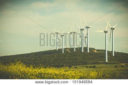 windmill power turbines in a field on hill