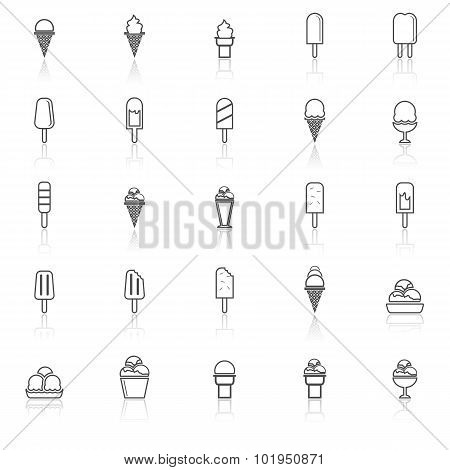 Ice Cream Line Icons With Reflect On White Background