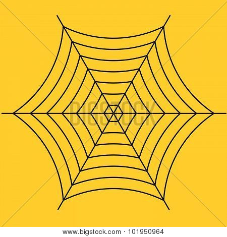 Black Spider Web On Yellow Background