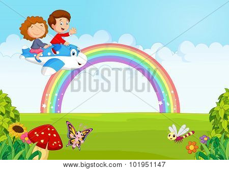 Little kid Operating a Plane with rainbow