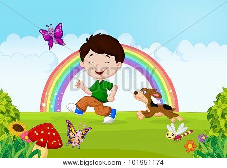 Illustration of a boy running with his pet