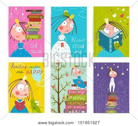Cute Little Princess Kids Reading Fairy Tale Books Library Poster Collection