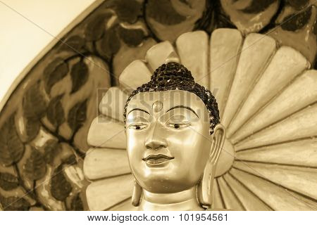 Buddha Statue In Tibet-indian Style Call 'buddha Metta'  In Temple Of Bangkok ,thailand Golden Vinta