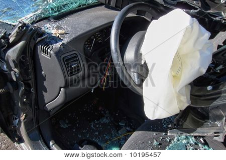 Deployed Air Bag In A Car After A Crash