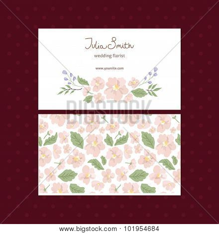 vector business floral card template. For advertising and print design. Visit card, invitation, gree