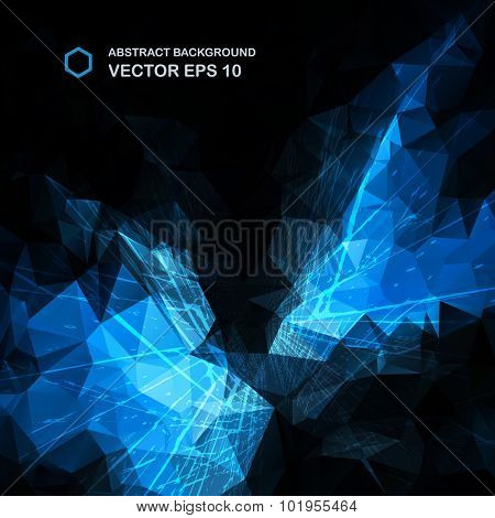 Abstract blue vector background. Triangle pattern.
