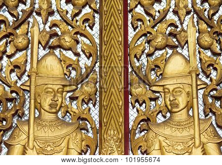 Gate Of Buddhism Temple With  Golden Soldier Sculpture  Decoration