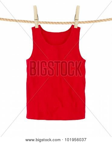 Red T-shirts Isolated On White Background