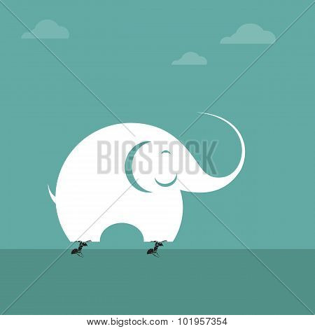 Vector Image Of Ant Lifting An Elephant. Impossible Concept