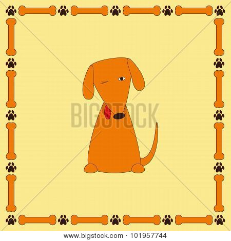 Cute Foxy Dog With Protruding Tongue In Frame With Bones And Paw Prints