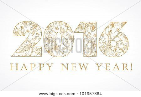 2016 new year gold vintage card.