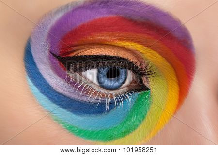 Fashion Concept Make Up Of Spinning Rainbow