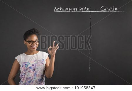 African Woman With Perfect Hand Signal With An Achievements And Goals List On Blackboard Background