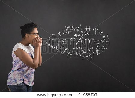 African American Woman Shouting, Screaming Or Swearing Spam On Blackboard Background