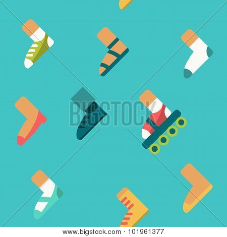 Cartoon Seamless Pattern, Vector Endless Background With Shoes