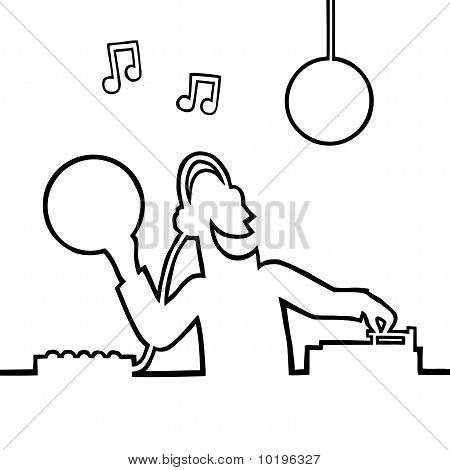 Disc jockey playing a record