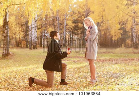 Kneeled Man Proposing Ring To A Woman In Autumn Park