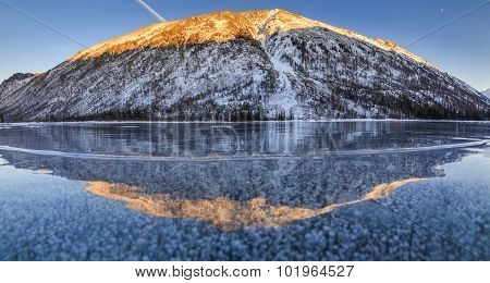 Scenic Winter Landscape With Mountains And Icy Lake.
