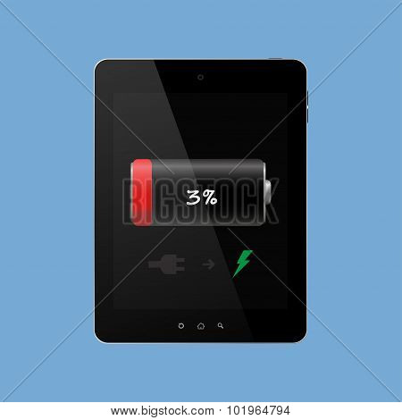 The tablet needs charging discharged on a blue background