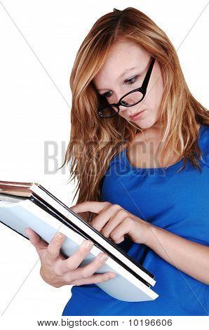 Girl Reading Books.