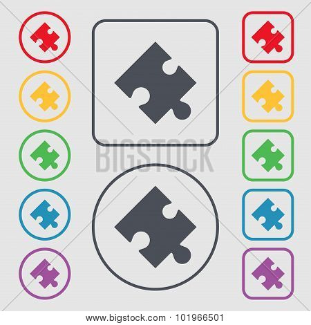 Puzzle Piece Icon Sign. Symbols On The Round And Square Buttons With Frame. Vector