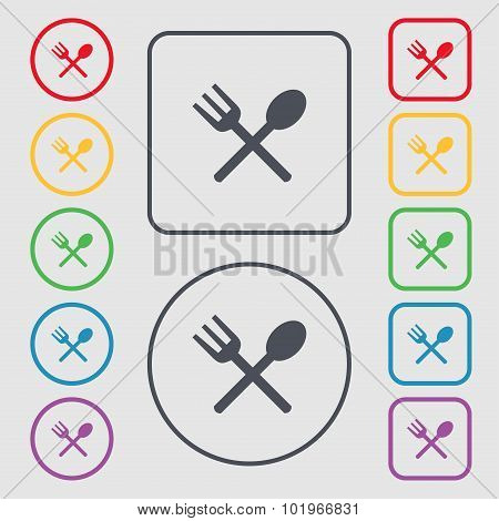 Fork And Spoon Crosswise, Cutlery, Eat Icon Sign. Symbols On The Round And Square Buttons With Frame