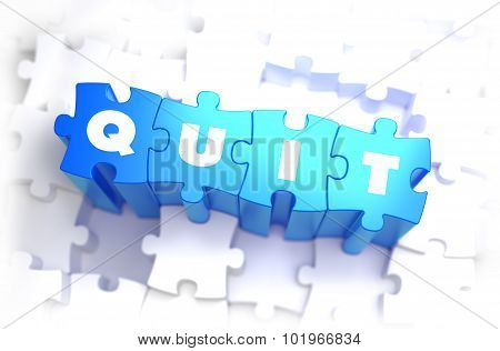 Quit - Text on Blue Puzzles.