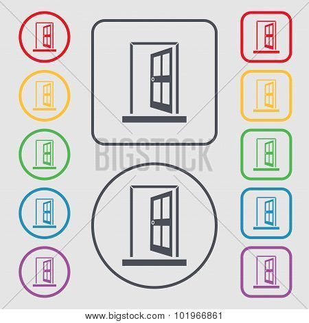 Door, Enter Or Exit Icon Sign. Symbols On The Round And Square Buttons With Frame. Vector