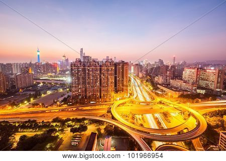 City Skyline With Overpass Road
