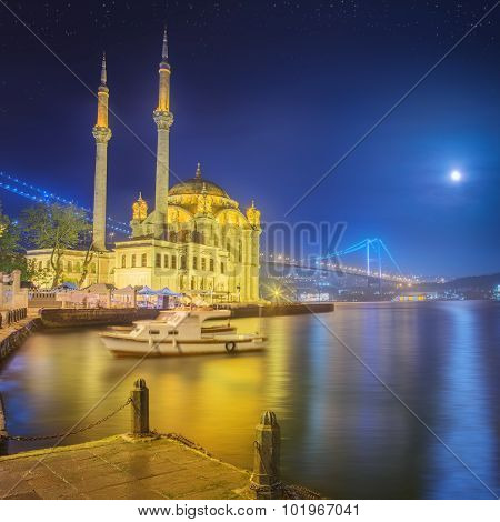 Ortakoy mosque and Bosphorus Bridge Istanbul