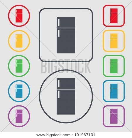 Refrigerator Icon Sign. Symbols On The Round And Square Buttons With Frame. Vector