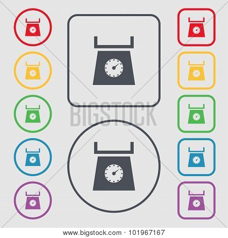 Kitchen Scales Icon Sign. Symbols On The Round And Square Buttons With Frame. Vector