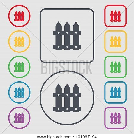 Fence Icon Sign. Symbols On The Round And Square Buttons With Frame. Vector