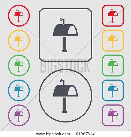 Mailbox Icon Sign. Symbols On The Round And Square Buttons With Frame. Vector
