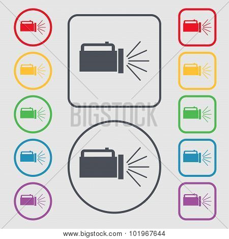 Flashlight Icon Sign. Symbols On The Round And Square Buttons With Frame. Vector